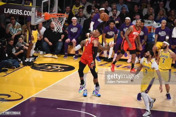 Russell Westbrook of the Houston Rockets drives to the basket during a game against the Los Angeles Lakers on February 6 2020 at STAPLES Center in...