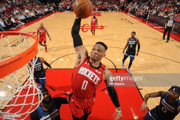 Russell Westbrook of the Houston Rockets dunks the ball against the Minnesota Timberwolves on March 10 2020 at the Toyota Center in Houston Texas...