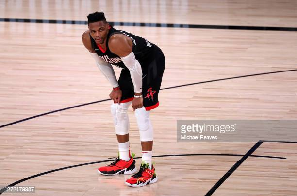 Russell Westbrook of the Houston Rockets during the fourth quarter against the Los Angeles Lakers in Game Five of the Western Conference Second Round...