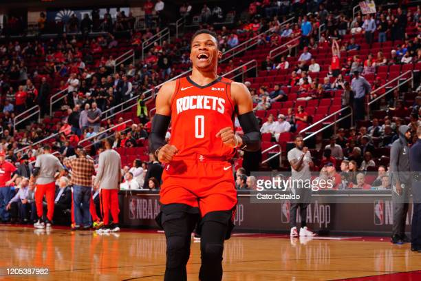 Russell Westbrook of the Houston Rockets gets introduced before the game on March 5 2020 at the Toyota Center in Houston Texas NOTE TO USER User...