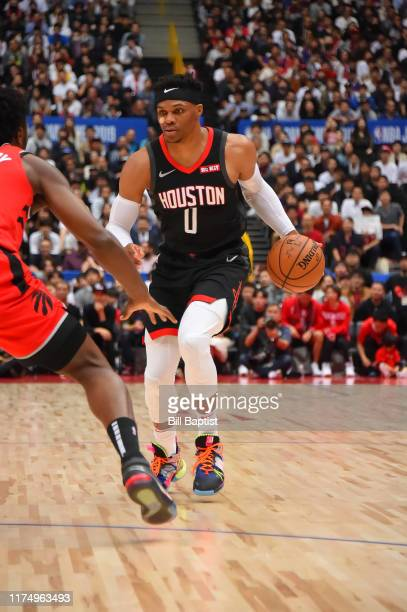 Russell Westbrook of the Houston Rockets handles the ball against the Toronto Raptors during the 2019 NBA Japan Game on October 10 2019 at Saitama...