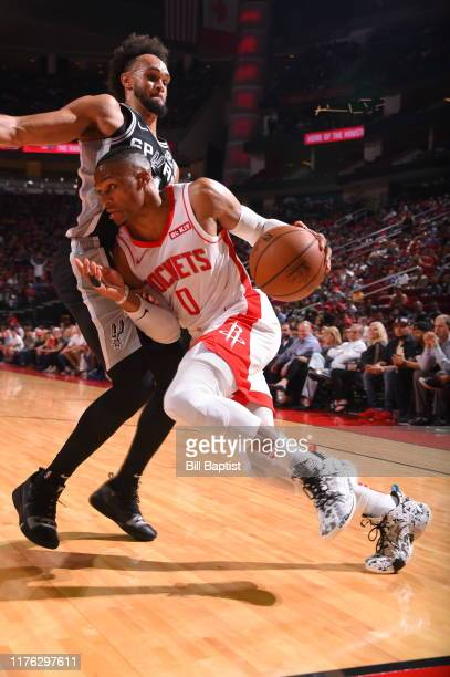 Russell Westbrook of the Houston Rockets handles the ball against the San Antonio Spurs during a preseason game on October 16 2019 at the Toyota...