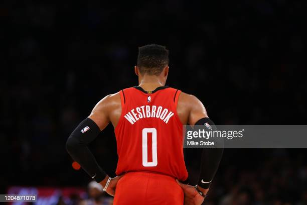 Russell Westbrook of the Houston Rockets in action against the New York Knicks at Madison Square Garden on March 02 2020 in New York City NOTE TO...