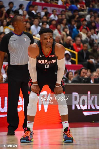Russell Westbrook of the Houston Rockets looks on against the Toronto Raptors during the 2019 NBA Japan Game on October 10 2019 at Saitama Super...