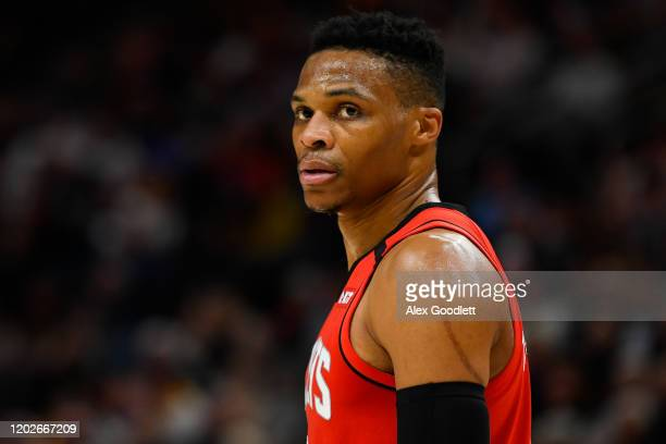 Russell Westbrook of the Houston Rockets looks on during a game against the Utah Jazz at Vivint Smart Home Arena on February 22 2020 in Salt Lake...