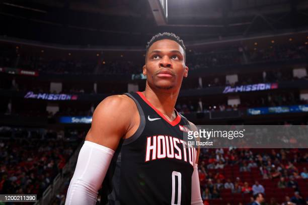 Russell Westbrook of the Houston Rockets looks on prior to a game against the Boston Celtics on February 11 2020 at the Toyota Center in Houston...