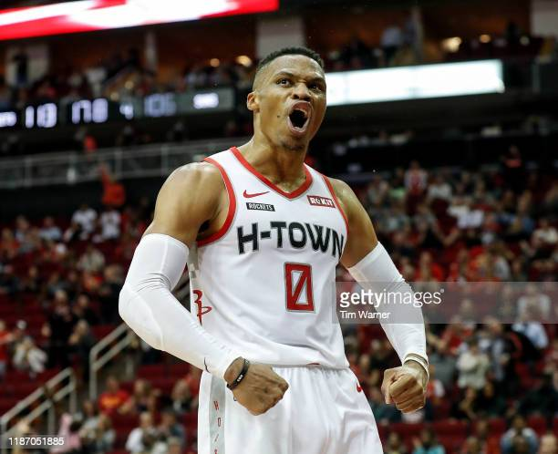 Russell Westbrook of the Houston Rockets reacts after a basket in the fourth quarter against the Phoenix Suns at Toyota Center on December 7 2019 in...