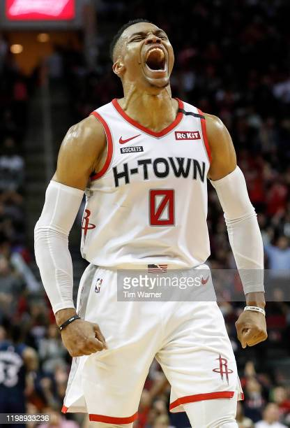 Russell Westbrook of the Houston Rockets reacts after a three point shot in the second half against the Minnesota Timberwolves at Toyota Center on...