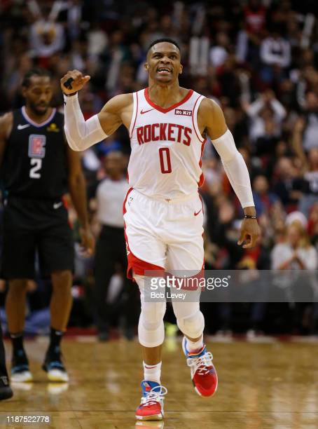 Russell Westbrook of the Houston Rockets reacts after making a three point shot against the Los Angeles Clippers during the fourth quarter at Toyota...