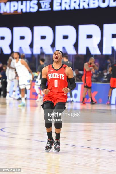Russell Westbrook of the Houston Rockets reacts before the game against the Memphis Grizzlies during a scrimmage on July 26, 2020 at HP Field House...