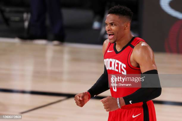 Russell Westbrook of the Houston Rockets reacts during the second half against the Dallas Mavericks at The Arena at ESPN Wide World Of Sports Complex...