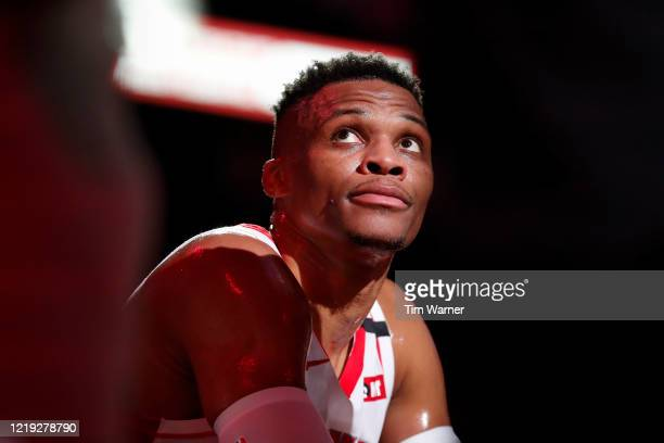 Russell Westbrook of the Houston Rockets reacts on the bench in the first half against the Orlando Magic at Toyota Center on March 08 2020 in Houston...