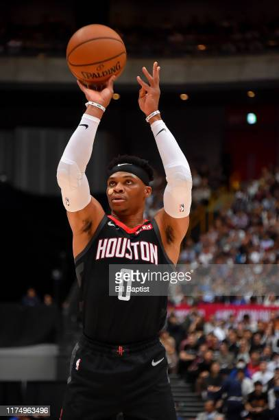 Russell Westbrook of the Houston Rockets shoots a free throw against the Toronto Raptors during the 2019 NBA Japan Game on October 10 2019 at Saitama...