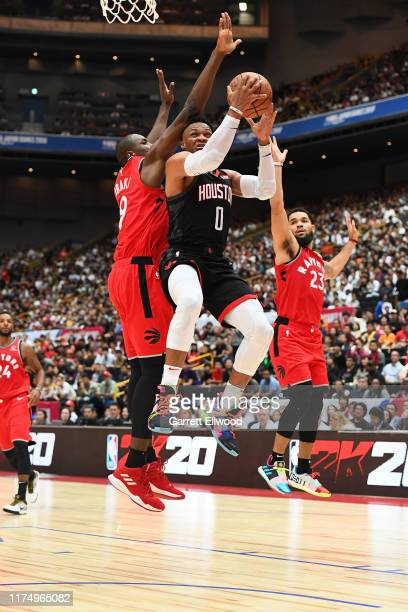 Russell Westbrook of the Houston Rockets shoots the ball against the Toronto Raptors during the 2019 NBA Japan Game on October 10 2019 at Saitama...