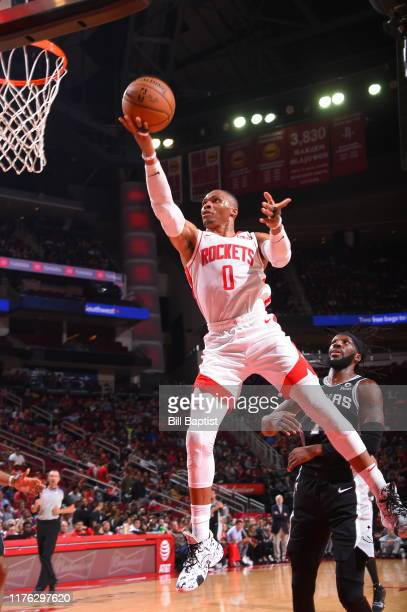Russell Westbrook of the Houston Rockets shoots the ball against the San Antonio Spurs during a preseason game on October 16 2019 at the Toyota...