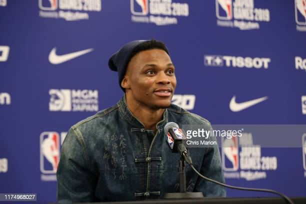 Russell Westbrook of the Houston Rockets speaks to the media after the game against the Houston Rockets as part of the 2019 NBA Japan Games at the...