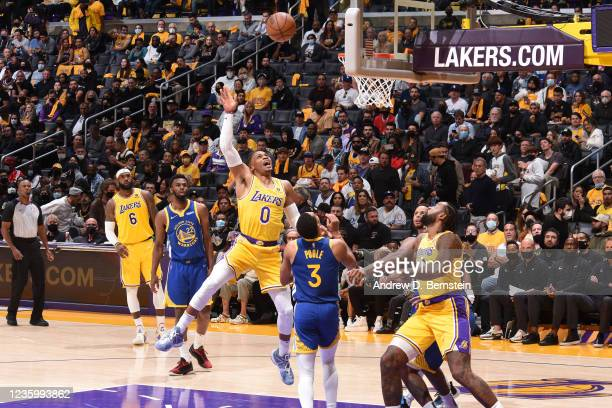 Russell Westbrook of the Los Angeles Lakers shoots the ball against the Golden State Warriors on October 19, 2021 at STAPLES Center in Los Angeles,...