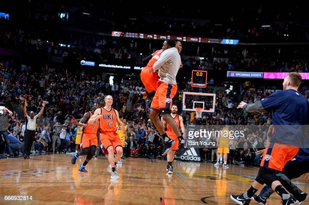 Russell Westbrook of the Oklahoma City celebrates after hitting the game winning shot against the Denver Nuggets on April 9 2017 at the Pepsi Center...