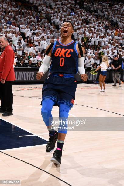Russell Westbrook of the Oklahoma City Thunder addresses the crowd before the game against the Utah Jazz in Game Four of Round One of the 2018 NBA...