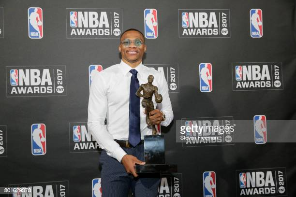 Russell Westbrook of the Oklahoma City Thunder after winning the Most Valuable Player of the Year award at the 2017 NBA Awards Show on June 26 2017...