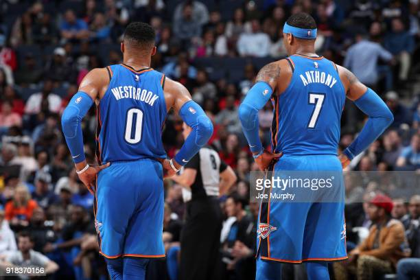 Russell Westbrook of the Oklahoma City Thunder and Carmelo Anthony of the Oklahoma City Thunder look on during the game against the Memphis Grizzlies...