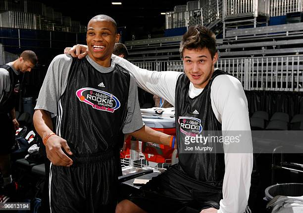 Russell Westbrook of the Oklahoma City Thunder and Danilo Gallinari of the New York Knicks talk during the Sophomore practice on center court at Jam...
