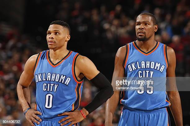 Russell Westbrook of the Oklahoma City Thunder and Kevin Durant of the Oklahoma City Thunder during the game against the Portland Trail Blazers on...