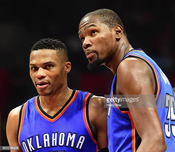 Russell Westbrook of the Oklahoma City Thunder and Kevin Durant discuss play during the first half against the Los Angeles ClipperLos Angeles Kingsat...