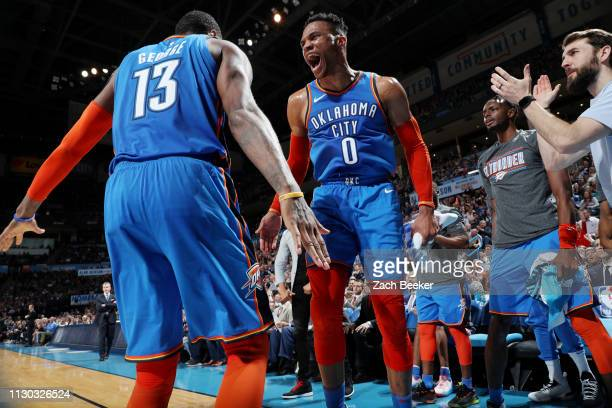 Russell Westbrook of the Oklahoma City Thunder and Paul George of the Oklahoma City Thunder celebrate during the game against the Brooklyn Nets on...