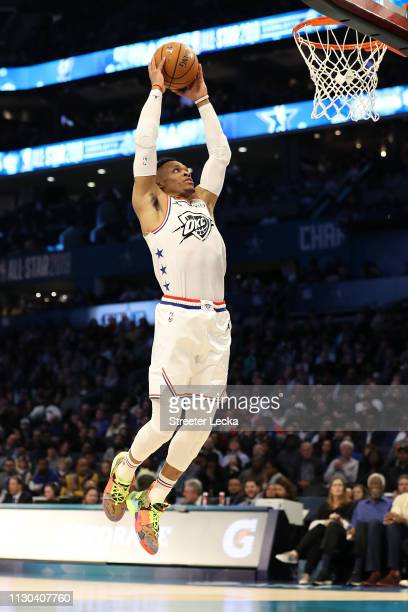 Russell Westbrook of the Oklahoma City Thunder and Team Giannis dunks against Team LeBron in the fourth quarter during the NBA AllStar game as part...