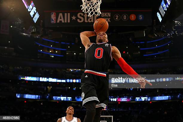 Russell Westbrook of the Oklahoma City Thunder and the Western Conference dunks the ball in the second half during the 2015 NBA AllStar Game at...