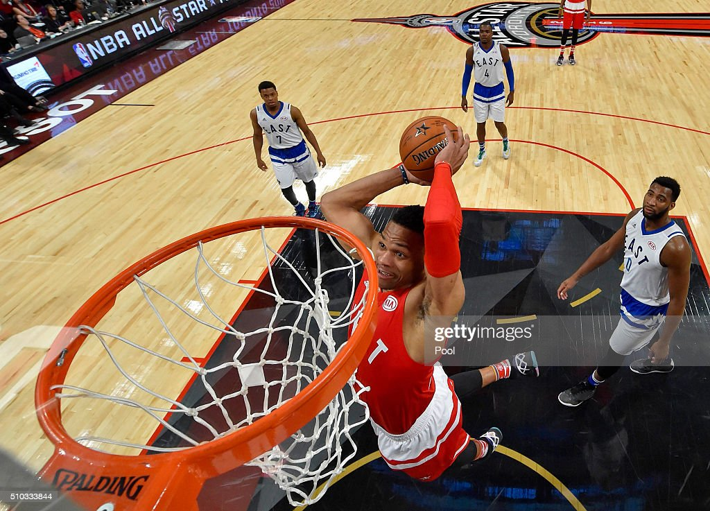 Russell Westbrook #0 of the Oklahoma City Thunder and the Western Conference dunks in the second half against the Eastern Conference during the NBA All-Star Game 2016 at the Air Canada Centre on February 14, 2016 in Toronto, Ontario.