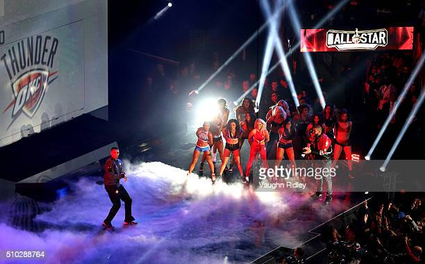 Russell Westbrook of the Oklahoma City Thunder and the Western Conference is introduced as rapper Drake looks on during the NBA AllStar Game 2016 at...