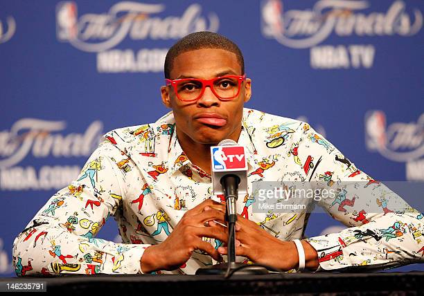 Russell Westbrook of the Oklahoma City Thunder answers questions after the Thunder defeat the Miami Heat 10594 in Game One of the 2012 NBA Finals at...