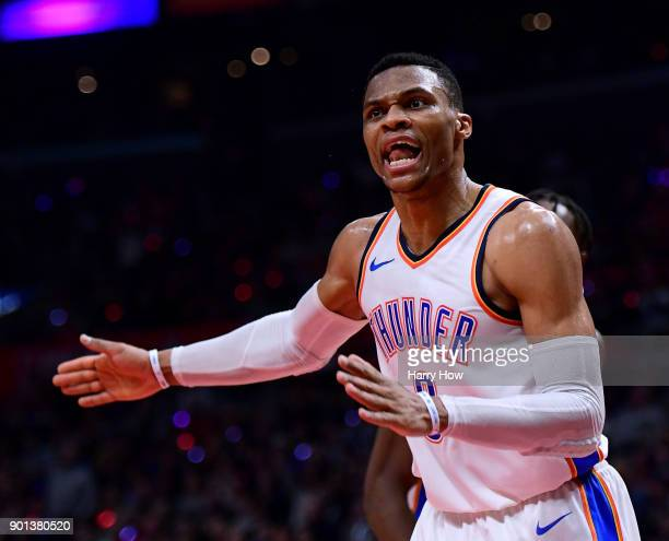 Russell Westbrook of the Oklahoma City Thunder argues a call during a 127117 Thunder win over the LA Clippers at Staples Center on January 4 2018 in...