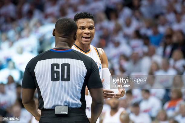 Russell Westbrook of the Oklahoma City Thunder argues a foul call with referee James Williams during the first half of game 2 of the Western...