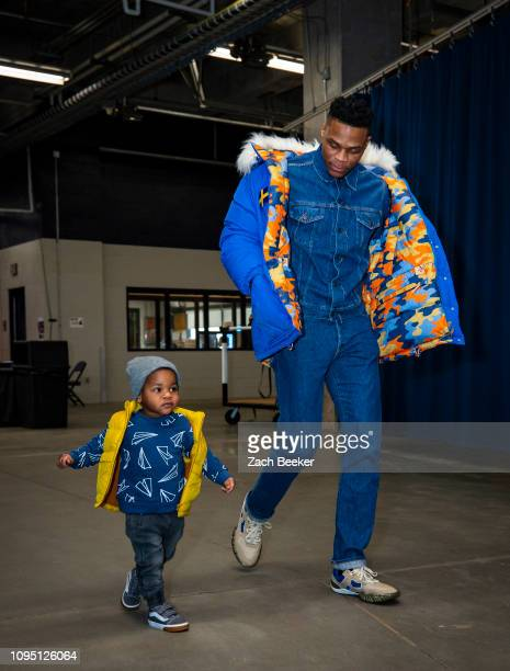 Russell Westbrook of the Oklahoma City Thunder arrives at the arena before the game against the Memphis Grizzlies on February 7 2019 at Chesapeake...