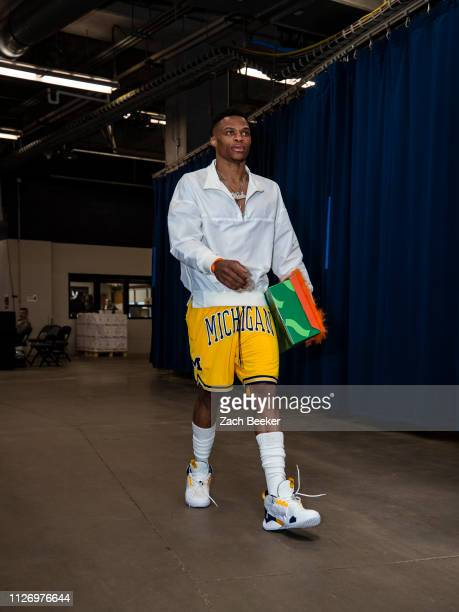 Russell Westbrook of the Oklahoma City Thunder arrives at the arena before the game against the Sacramento Kings on February 23 2019 at Chesapeake...