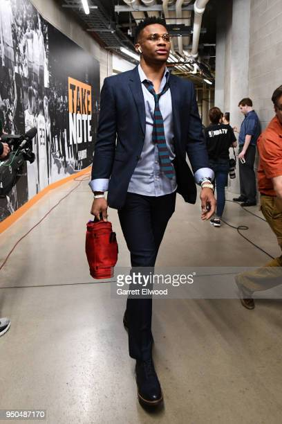 Russell Westbrook of the Oklahoma City Thunder arrives at the arena before the game against against the Utah Jazz in Game Four of Round One of the...