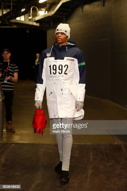 Russell Westbrook of the Oklahoma City Thunder arrives at the stadium before the game against the Toronto Raptors on March 18 2018 at the Air Canada...