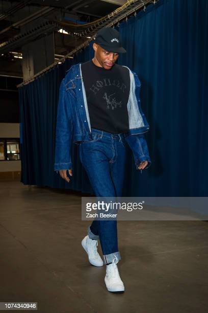 Russell Westbrook of the Oklahoma City Thunder arrives before the game against the Chicago Bulls on December 17 2018 at Chesapeake Energy Arena in...