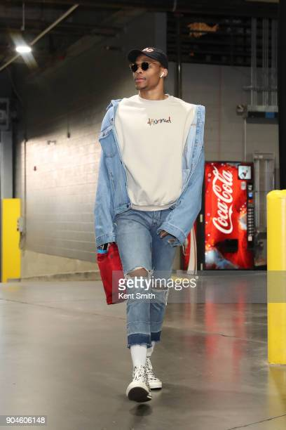 Russell Westbrook of the Oklahoma City Thunder arrives before the game against the Charlotte Hornets on January 13 2018 at Spectrum Center in...