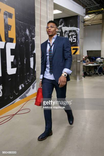 Russell Westbrook of the Oklahoma City Thunder arrives before the game against the Utah Jazz in Game Four of Round One of the 2018 NBA Playoffs on...