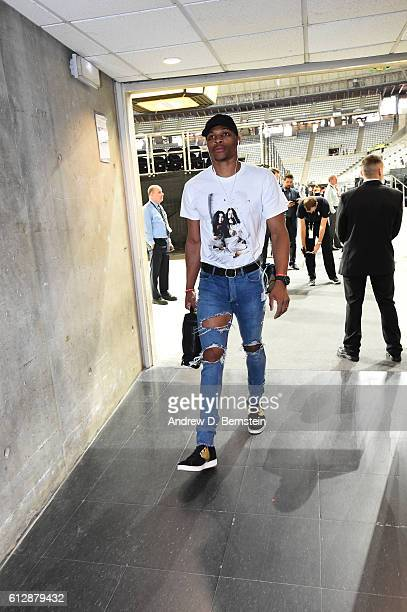 Russell Westbrook of the Oklahoma City Thunder arrives prior to the game against FC Barcelona Lassa as part of the 2016 Global Games on October 5...