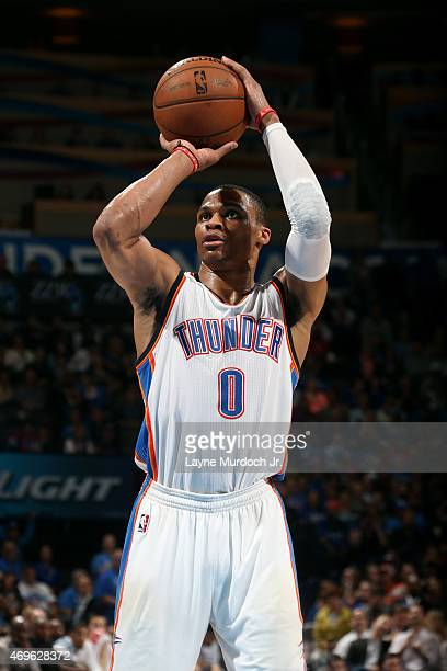 Russell Westbrook of the Oklahoma City Thunder attempts a free throw against the Portland Trail Blazers on April 13 2015 at Chesapeake Energy Arena...