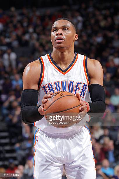 Russell Westbrook of the Oklahoma City Thunder attempts a free throw shot against the Sacramento Kings on November 23 2016 at Golden 1 Center in...