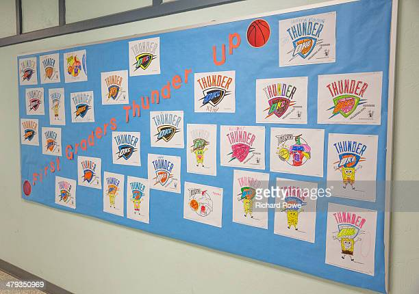 Russell Westbrook of the Oklahoma City Thunder attends a Community Event at Sooner Rose Elementary in Midwest City Oklahoma NOTE TO USER User...