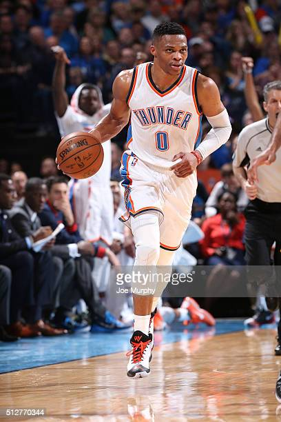 Russell Westbrook of the Oklahoma City Thunder brings the ball up court against the Golden State Warriors on February 27 2016 at Chesapeake Energy...
