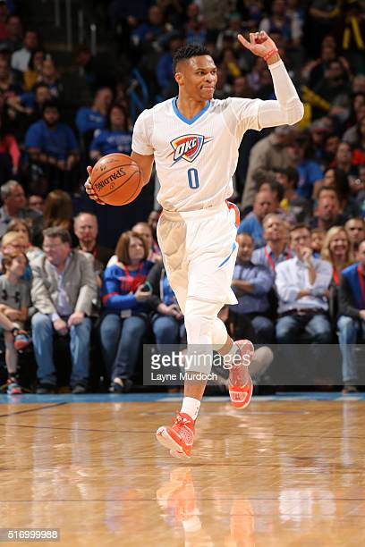 Russell Westbrook of the Oklahoma City Thunder brings the ball up court against the Houston Rockets on March 22 2016 at Chesapeake Energy Arena in...