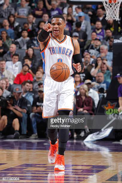 Russell Westbrook of the Oklahoma City Thunder brings the ball up the court against the Sacramento Kings on November 23 2016 at Golden 1 Center in...